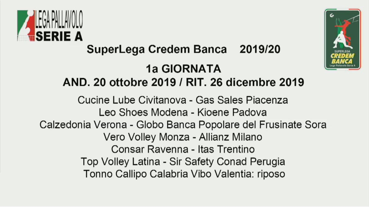 Padova Fiere Calendario 2020.Superlega Il Calendario 2019 20 Regular Season Via Il 20